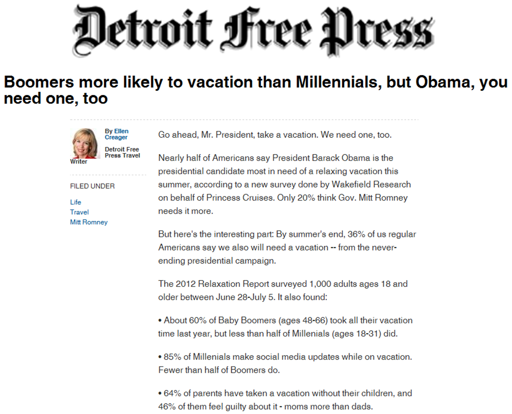 Boomers More Likely To Vacation Than Millennials But Obama You Need One Too Wakefield Research